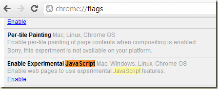 Enabling Experimental JavaScript in Chrome