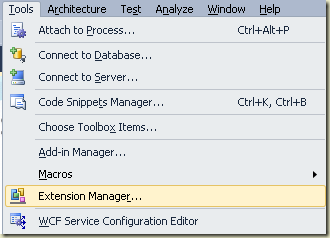 extension manager menu