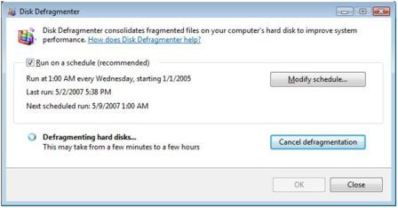 vista disk defragment
