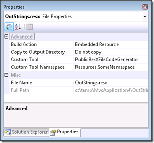 resx properties in MVC