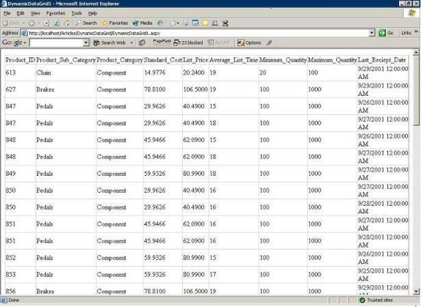 Dynamically create a datagrid in ASP net using C#