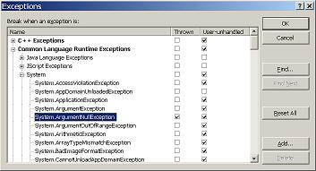The exceptions dialog