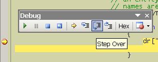 The debugging toolbar contains all the step commands