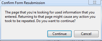 Content Resubmission Warning in Chrome