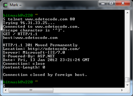 An HTTP session over Telnet