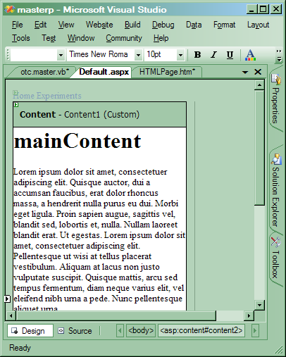 Master Pages in ASP NET