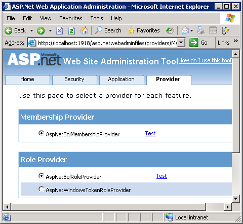 Testing providers with the ASP.NET Web Administration Tool