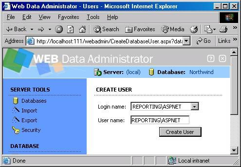 MSDE With SQL Web Data Administrator : Authorization
