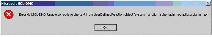 Error Message displayed while trying to view a SQL System UDF