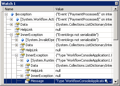 Debugger watch window on serialization exception
