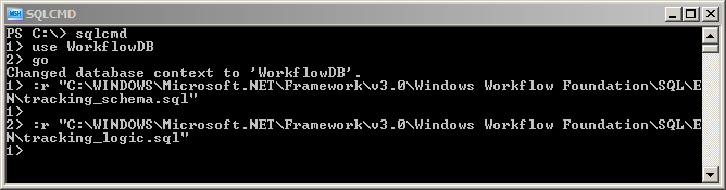 Figure 8: sqlcmd.exe running the tracking scripts