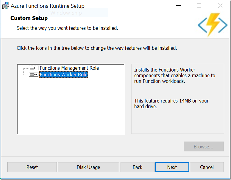 Azure Functions Runtime Installer