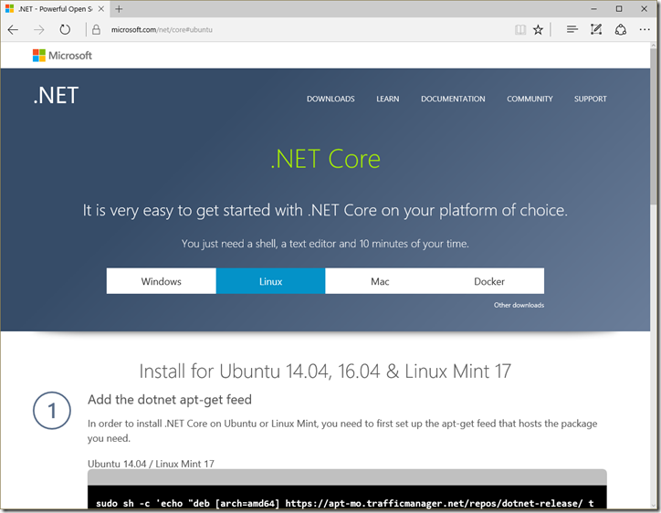 .NET Core Home Page