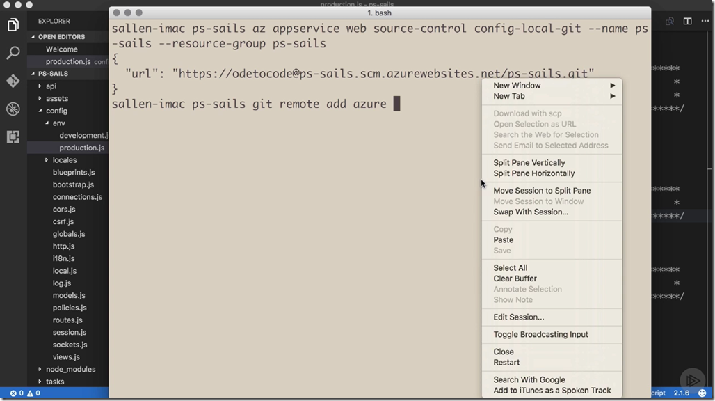 Developing with Node.js on Microsoft Azure