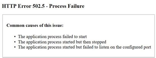 An ASP.NET Core Startup Error Leads to a 502.5 Process Failure