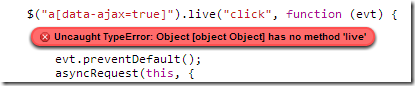 Object has no method live