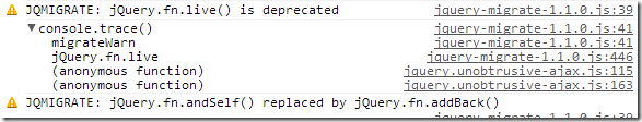 jQuery Migrate trace messages