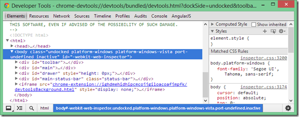 Chrome Dev Tools Default