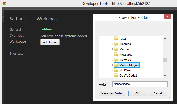 Mapping Folders for Chrome Dev Tools Workspaces