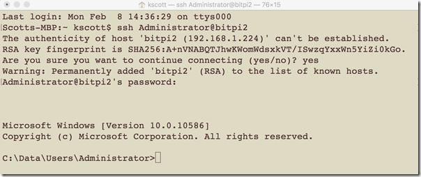 SSH to Rasberry Pi2 with Win10 IoT