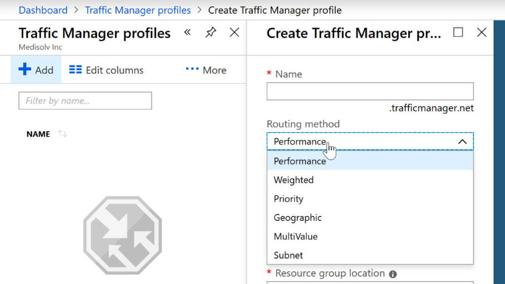 Setting up a Traffic Manager Profile
